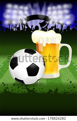 Soccer Poster with Ball, Glass of Beer and Fans, vector - stock vector