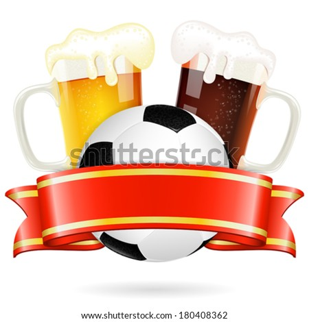 Soccer Poster with Ball, Glasses of Beer and Ribbon, vector isolated on white - stock vector