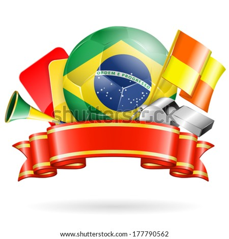 Soccer Poster with Brazil Ball, Ribbon and Flags, isolated vector - stock vector