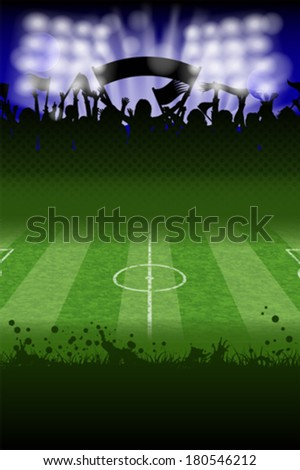 Soccer Poster with Fans and Field, vector - stock vector
