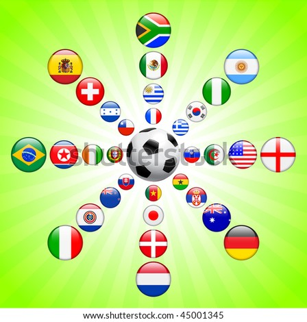 Soccer poster with Flag Buttons  Original Vector Illustration