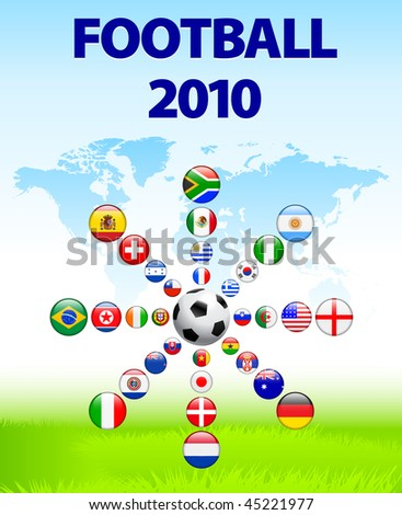 Soccer poster with Flag Buttons  Original Vector Illustration - stock vector