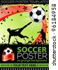Soccer Poster with Players with Ball on grunge background, element for design, vector illustration - stock photo