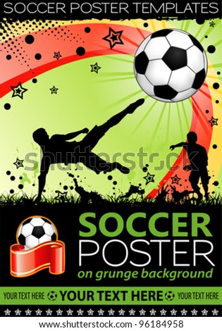 Soccer Poster with Players with Ball on grunge background, element for design, vector illustration - stock vector