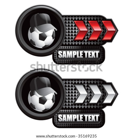 soccer referee ball on arrow banner - stock vector