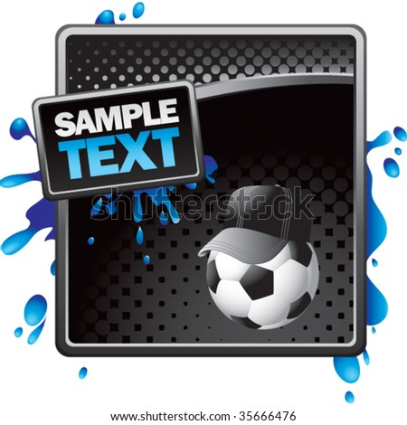 soccer referee ball on black halftone sign with blue splatter - stock vector