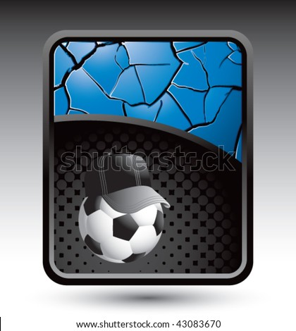 soccer referee ball on blue cracked background