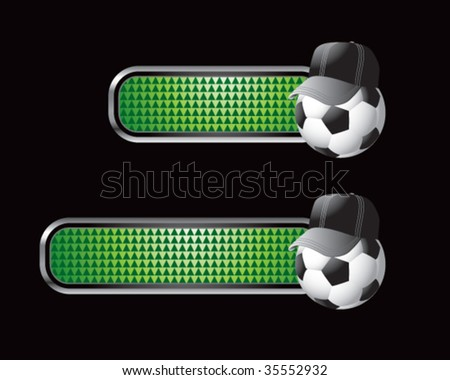 soccer referee ball on green checkered tabs - stock vector