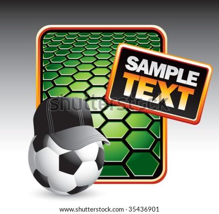 soccer referee ball on green hexagon banner - stock vector