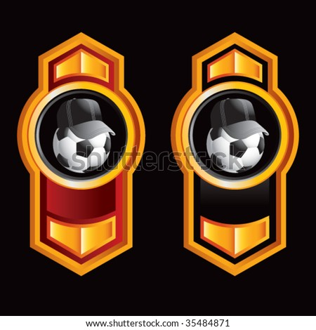 soccer referee ball on royal vertical icons - stock vector