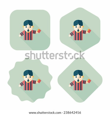 soccer referee flat icon with long shadow, eps10 - stock vector