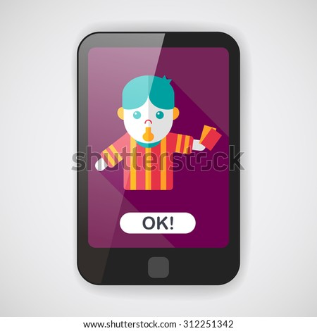 soccer referee flat icon with long shadow,eps10 - stock vector
