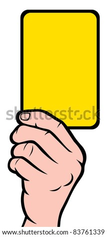 Soccer referees hand with yellow card (Soccer referees hand with yellow card) - stock vector