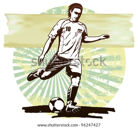 soccer scene with player and grunge background - stock vector