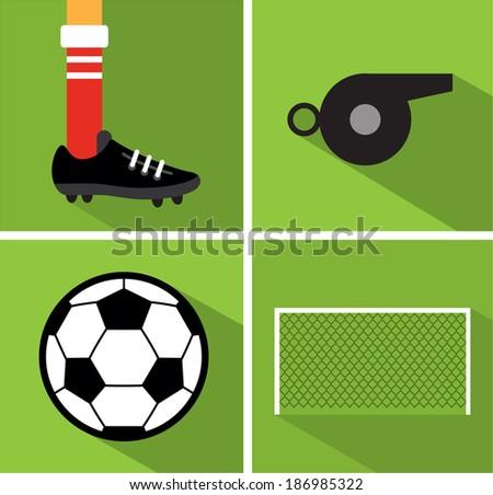 Soccer set II - stock vector