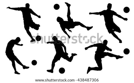 soccer shoot silhouettes on the white background - stock vector