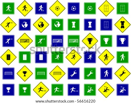 soccer sign set - stock vector
