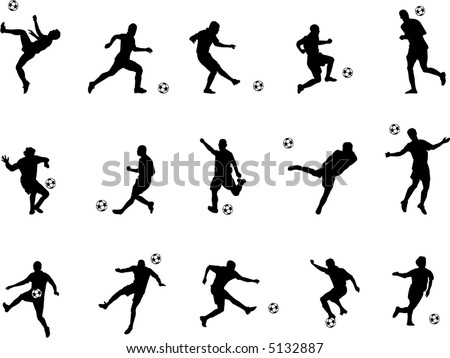 soccer silhouettes - stock vector