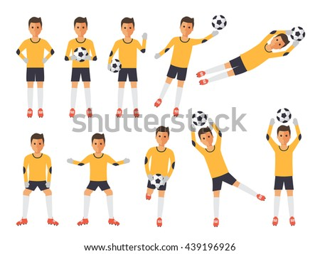 Soccer sport athletes, football goalkeeper playing, kicking, training and practicing football. Flat design people characters. - stock vector