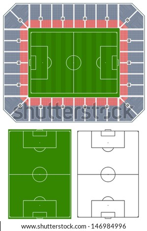 Soccer stadium illustration with stands and extra pitches - stock vector