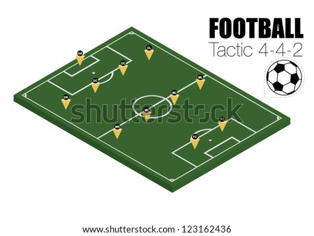 Soccer strategy formation type 4-4-2. EPS10 - stock vector