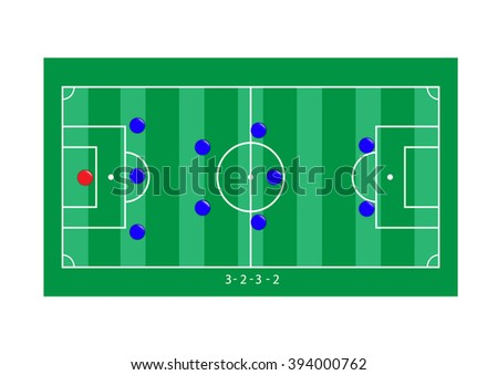 Soccer strategy formation type with soccer ball