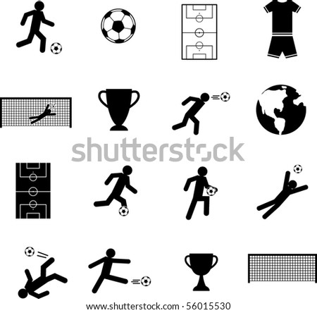 soccer symbols set - stock vector