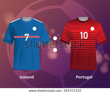 Soccer T-shirts of Iceland and Portugal. Football team equipment - stock vector