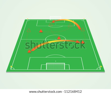 Soccer tactic table perspective - stock vector