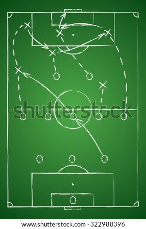 Soccer Tactic Table. Vector Illustration. The Tactical Scheme Of Three Five Two - stock vector