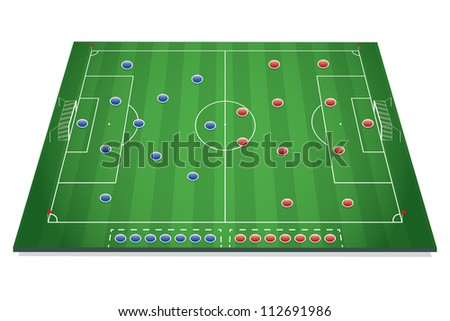 Soccer tactic table with marks - stock vector