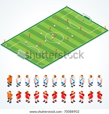 Soccer Tactical Kit - isometric vector illustration of football field and abstract teams, all elements separated and grouped - stock vector