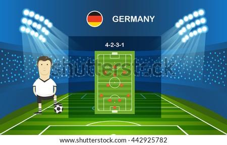 Soccer team arrangement. Football infographic template - stock vector