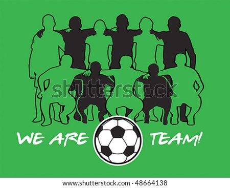 Soccer team player silhouettes with ball over green field - stock vector