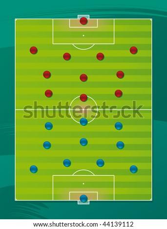 Soccer team tactics field - stock vector