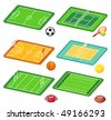 Soccer, tennis, basketball, volleyball, rugby, american football fields layout and balls - stock photo