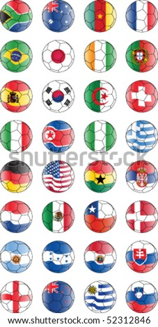 Soccer vector balls with flags all participants Soccer World Championship 2010 - stock vector