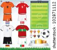 Soccer Vector Collection. Euro 2012 Group D. Netherlands, Danish, Deutsche, Portuguese Teams clip art. - stock vector