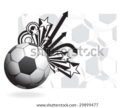soccer with arrows, star and seamless football background