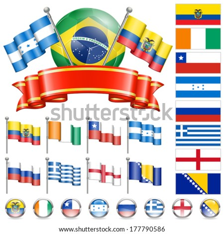 Soccer World Championship 2014 Brazil Collect with Flags, Ball, Ribbon and Flags, isolated vector. Part 3 of 4. - stock vector