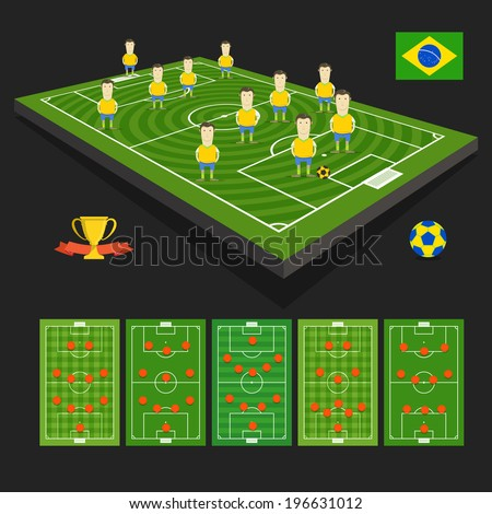 Soccer world cup team presentation. Brazil team - stock vector