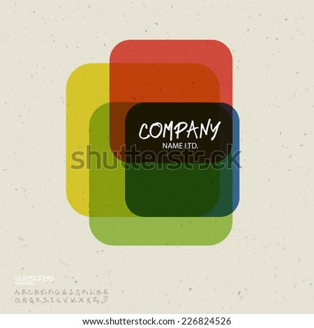Social abstract logo vector design template. Colorful cubes concept on recycled paper texture, retro styled. With handwritten letters set. Vector - stock vector