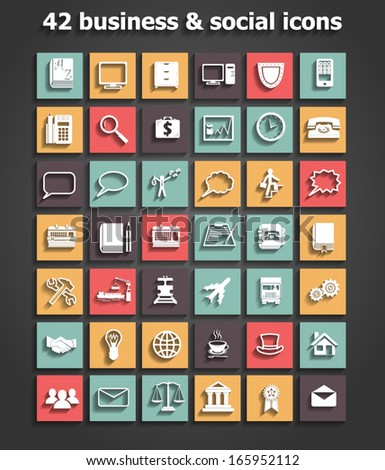 social and business icons set vector - stock vector