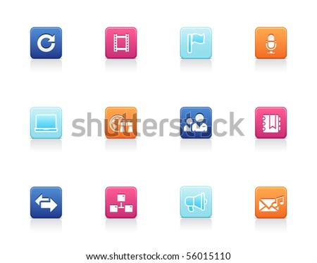 Social and media icons - stock vector