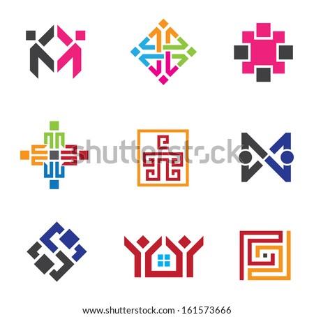 Social building network circle in business logo vector template - stock vector