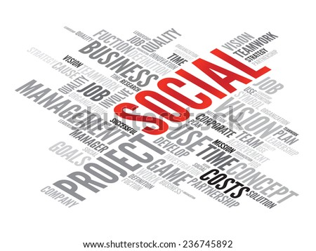 SOCIAL business concept in word tag cloud, vector background - stock vector