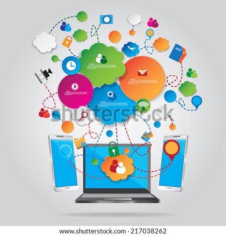 Social communication background - stock vector