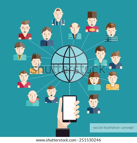 Social communication concept with people avatars globe and hand with mobile phone vector illustration
