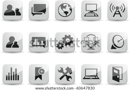 Social Communication Network Black and White Glossy Icons - stock vector