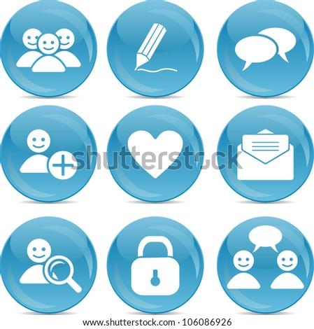 social communication web icons on blue balls - stock vector